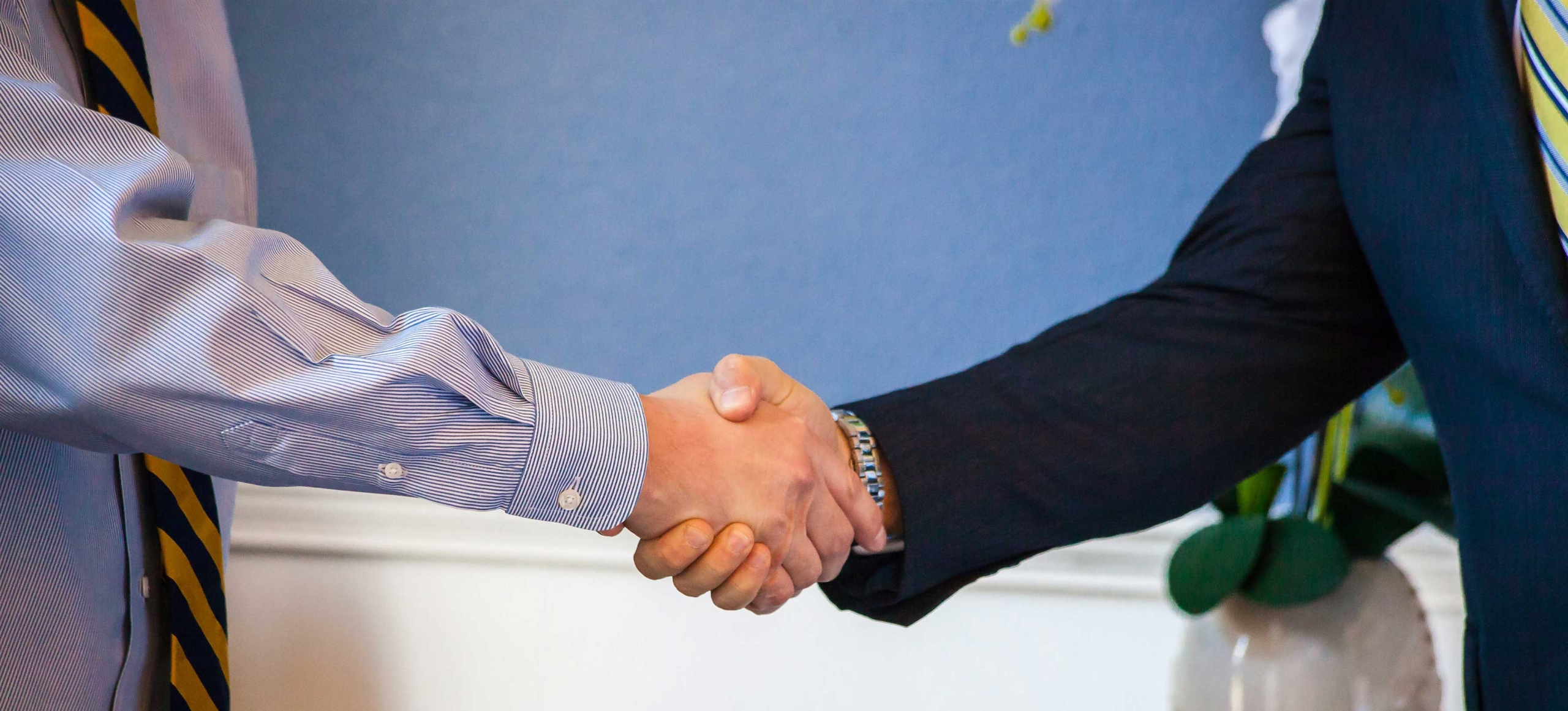 Mortgage closing with a hand shake